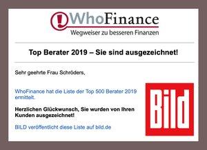 Top Berater 2019 - Ausgezeichnet durch Who Finance - Heute in der Bildzeitung