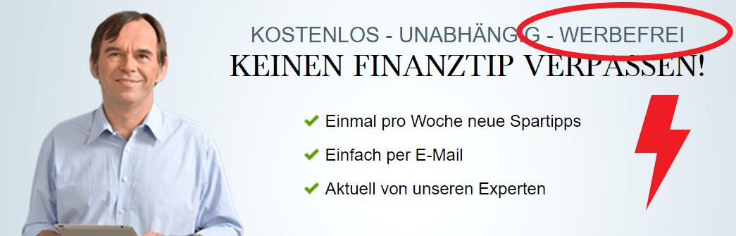 Werbung bei Finanztip