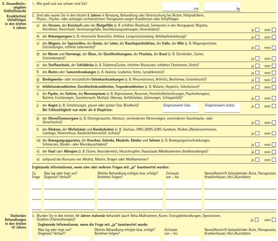Gesundheitsfragen Deutsche Ärzteversicherung